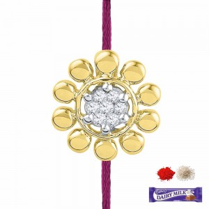 Gold and diamond rakhi for brother