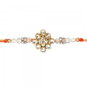 White stone kundan rakhi for brother