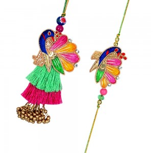 Gorgeous peacock motif zardozi rakhi for bhaiya and bhabhi.