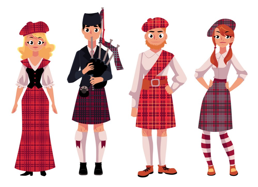 scottish-people-in-traditional-national-costumes-vector-13661759 - Edited