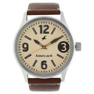 Fastrack 3001SL10 Beige Dial Leather Strap Watch
