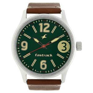 Fastrack 3001SL11 Green Dial Leather Strap Watch