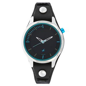 Fastrack 6156SL01 Black Dial Leather Strap Watch