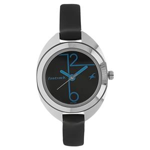 Fastrack NG6125SL01C Black Dial Leather Strap Watch