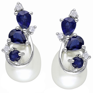 FacetzInspire Real Diamond Pearl Lab Bluesapphire 92.5 Sterling Silver Earring