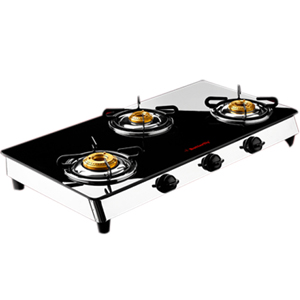 Butterfly Reflection Glass Top - 3 burner