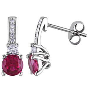 FacetzInspire Real Diamond Lab Ruby 92.5 Sterling Silver Earring