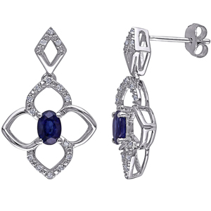 Diamond Earrings-FacetzInspire Real Diamond Lab Bluesapphire 92.5 Sterling Silver Earring