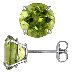 Silver Earrings-FacetzInspire Lab Peridot 92.5 Sterling Silver Earring