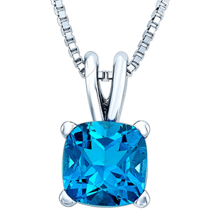 FacetzInspire Lab BlueTopaz 92.5 Sterling Silver Pendant