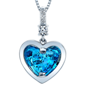 Diamond Pendants-FacetzInspire Real Diamond Lab BlueTopaz 92.5 Sterling Silver Heart Pendant