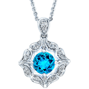 Diamond Pendants-FacetzInspire Real Diamond Lab BlueTopaz 92.5 Sterling Silver Pendant