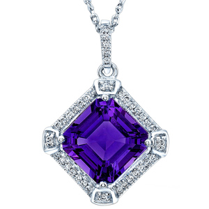 FacetzInspire Real Diamond Lab Amethyst 92.5 Sterling Silver Pendant