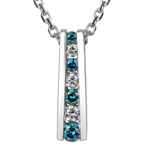 FacetzInspire Real Diamond Lab BlueTopaz 92.5 Sterling Silver Pendant