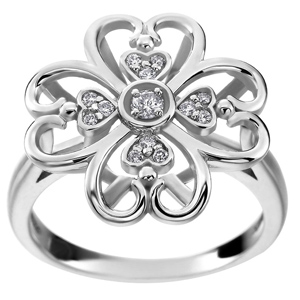 FacetzInspire Real Diamond 92.5 Sterling Silver Floral Ring