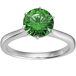 Diamond-FacetzInspire Lab Emerald 92.5 Sterling Silver solitaire Ring