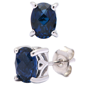 FacetzInspire Lab Blue Sapphire 92.5 Sterling Silver Earring