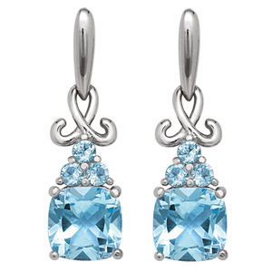 FacetzInspire Lab Blue Topaz 92.5 Sterling Silver Flower Earring
