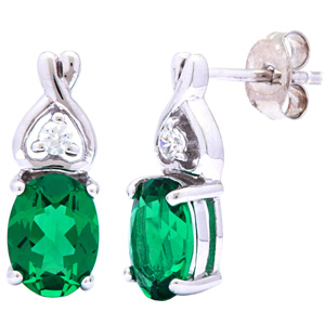 Diamond Earrings-FacetzInspire Real Diamond Lab Emerald 92.5 Sterling Silver Earring