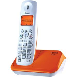 Gigaset A450 White & Orange Landline Phone Cordless