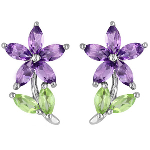 FacetzInspire Lab Amethyst Peridot 92.5 Sterling Silver Flower Earring