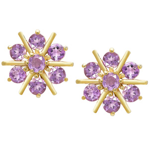 FacetzInspire Lab Amethyst 92.5 Sterling Silver Flower Earring