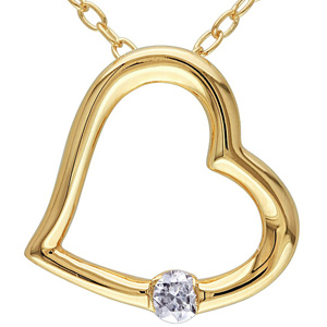 Diamond Pendants-FacetzInspire Real Diamond 92.5 Sterling Silver Heart Pendant