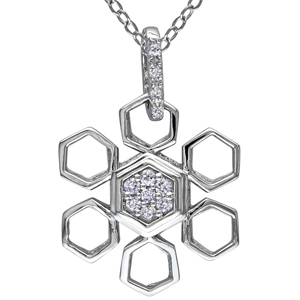 Diamond Pendants-FacetzInspire Real Diamond 92.5 Sterling Silver Pendant