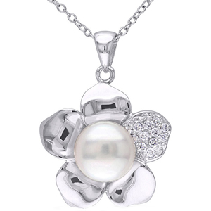 FacetzInspire Real Diamond Pearl 92.5 Sterling Silver Pendant