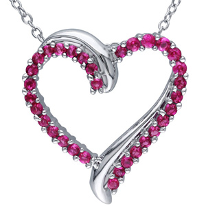 FacetzInspire Lab Ruby 92.5 Sterling Silver Heart Pendant