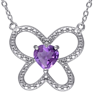 Diamond Pendants-FacetzInspire Real Diamond Lab Amethyst 92.5 Sterling Silver Pendant