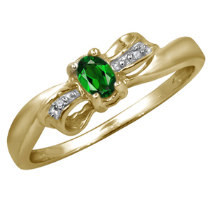 Diamond-FacetzInspire Real Diamond Lab Emerald 92.5 Sterling Silver Ring