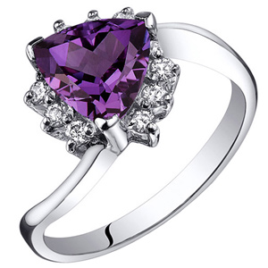 Diamond-FacetzInspire Real Diamond Lab Amethyst 92.5 Sterling Silver Ring