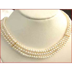 Three Line Pearl Necklace