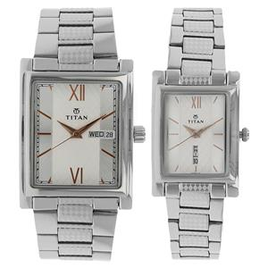 Titan Analog Silver Watches for Pair 900242562SM01