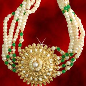 Pearl Necklace with Silver Gold Plated Pendant