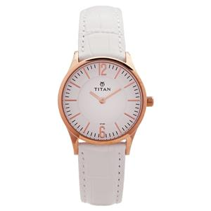 Titan White Dial Leather Strap Women's Watch 95035WL01J