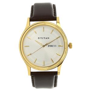 Titan Silver Dial Leather Strap Men's Watch - 1650YL01