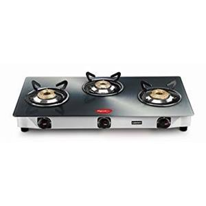 Pigeon Smart Plus Metallic 3 Burner Glass Top Gas Stove