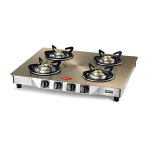 Pigeon Smart Plus Metallic 4 Burner Glass Top Gas Stove