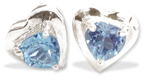 Heart Collection-Blue Topaz Earrings