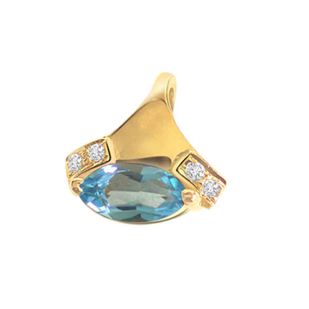 Blue Topaz Diamond Pendant