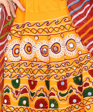 Lehenga Choli-Kutchi Work Chaniya Choli in Yellow