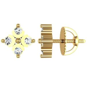 Gold Earrings-Avsar New Collection 18K (750) Yellow Gold and Diamond Stud Earrings