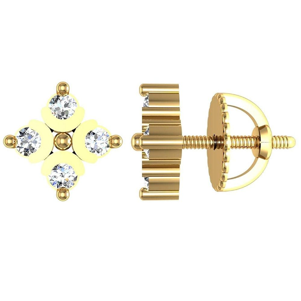 Avsar New Collection 18K (750) Yellow Gold and Diamond Stud Earrings