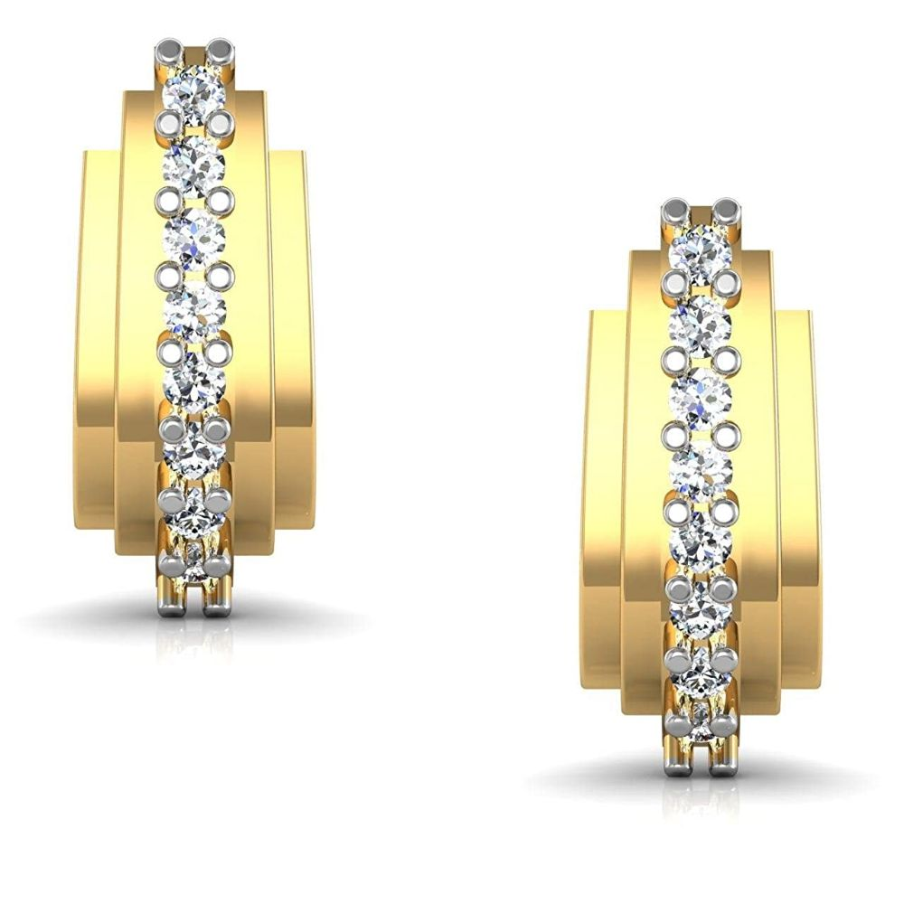 Gold Earrings-Avsar New Collection 14k (585) Yellow Gold Stud Earrings
