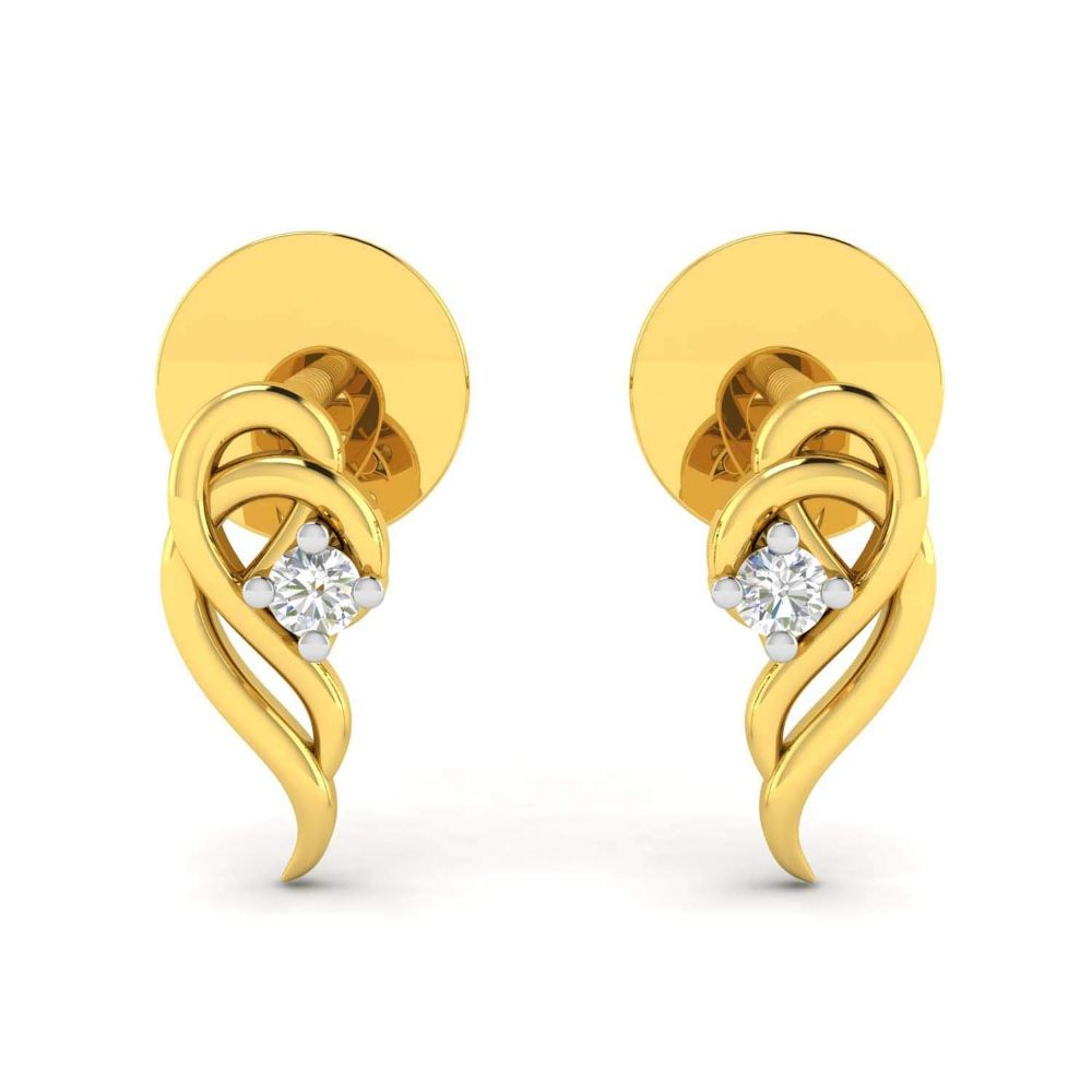 Gold Earrings-Avsar 14k (585) Yellow Gold Stud Earrings for Women