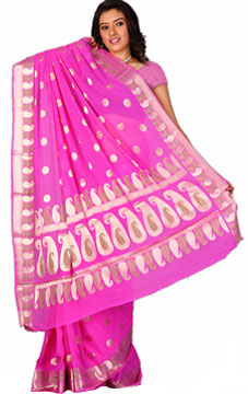Pink Chiffon Saree with Paisley Designs
