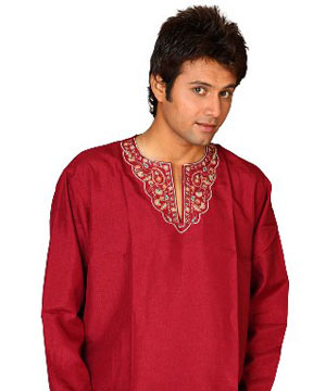 Dark Red Cotton Kurta