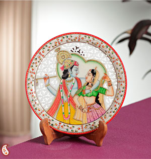 Plates-Carved Marble Plate with Radha Krishna